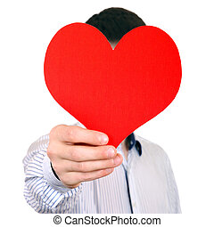 Person with Red Heart Shape