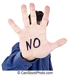 Person with Refusal Gesture - Person shows the Palm gesture...