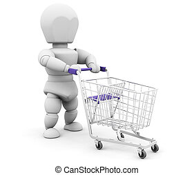 Person with shopping trolley - 3D render of someone with a...