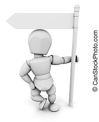 Person with signpost
