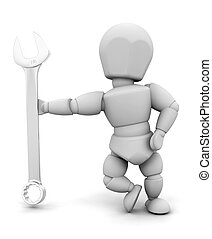 Person with spanner - 3D render of someone holding a spanner