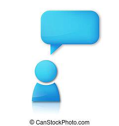 Person with speech bubble. Blue vector icon