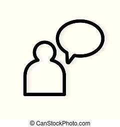 person with speech bubble icon- vector illustration