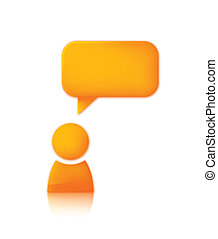 Person with speech bubble. Orange vector icon of man