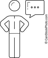 Person with speech bubble vector line icon.