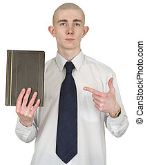 Person with the book in hands