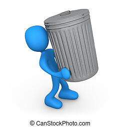 Person with trash can. - 3d person carrying a big trash can.