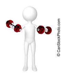 Person with Two dumbbells over white background