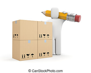 Person work with boxes