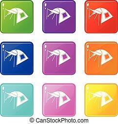 person, zelt, heiligenbilder, satz, 9, farbe, sammlung