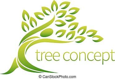 persona, árbol, icono