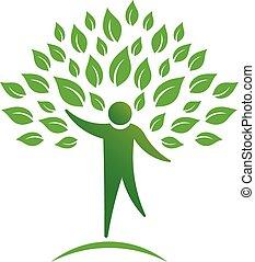 persona, árbol, logotipo
