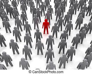 persona, único, multitud.