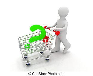 persona, 3d, domanda, pushcart, marchio