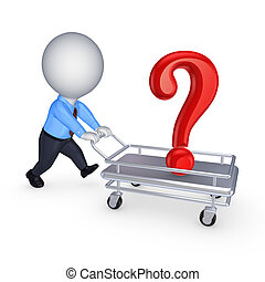 persona, 3d, domanda, pushcart., marchio