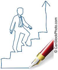 persona affari, arrampicarsi, su, successo