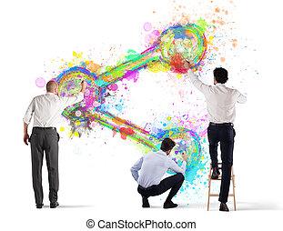 persona affari, azione, isolato, wall., vernice, fondo, bianco, icona