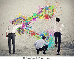 persona affari, parete, azione, vernice, icona
