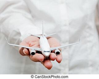 persona affari, presa a terra, aeroplano, model., trasporto, industria aereo, linea aerea