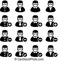persona, aggiungere, vettore, cancellare, icone