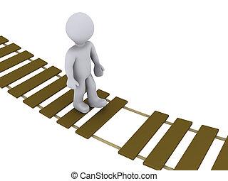persona, ambulante, en, dañado, puente