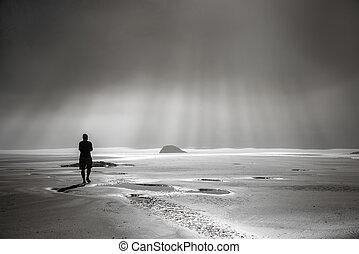 persona, ambulante, hacia, rayos de sol