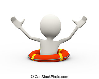 persona, annegamento, chiamata, aiuto, 3d