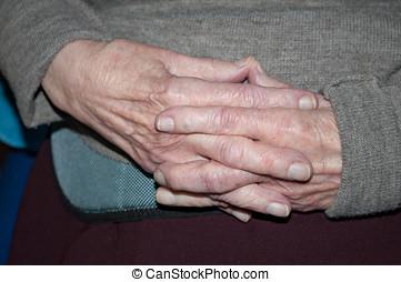 persona, anziano, mani