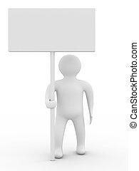 persona, asimiento, un, bandera, blanco, fondo., 3d, imagen