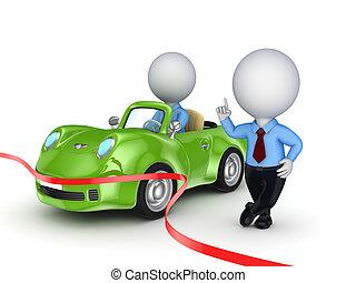 persona, automobile., vendita, 3d, piccolo