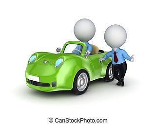 persona, automobile., vendita, piccolo