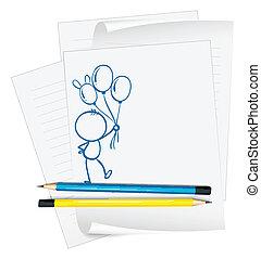 persona, bosquejo, papel, globos, tenencia