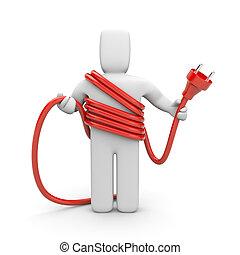 persona, cable., presa, cableman