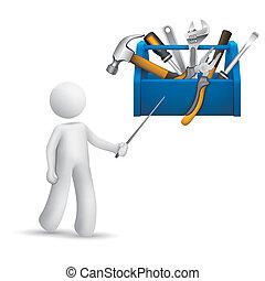 persona, caja de herramientas, herramientas, señalar, 3d
