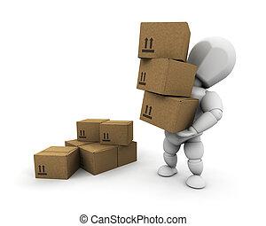 persona, cajas, proceso de llevar