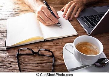 persona, checkered, quaderno, ufficio, scrittura