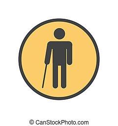persona cieca, bastone