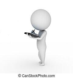 persona común, con, un, computadora personal tableta