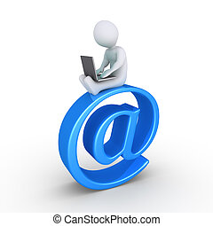 persona, computador portatil, email