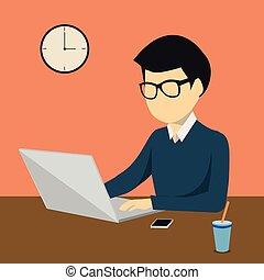 persona, computadora de computadora portátil, o, trabajando