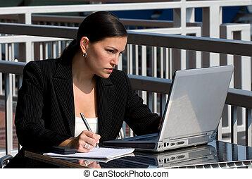 persona, computadora, hembra, empresa / negocio