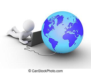 persona, computer, collegato, usando, mondo