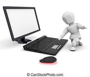 persona, computer, usando