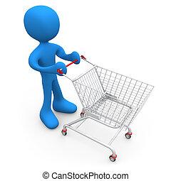 persona, con, carro de compras