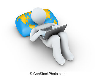 persona, con, computador portatil, es, hojear, internet