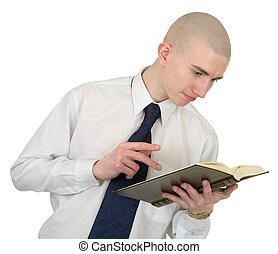 persona, con, il, libro, in, mani