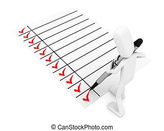 persona, con, un, grande, pluma y, un, lista de verificación