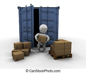 persona, contenedor, descargar, carga