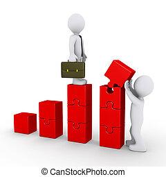 persona, costruzione, uno, puzzle-graph, per, uomo affari