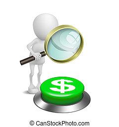 persona, dólares, botón, mirar, lupa, símbolo, 3d